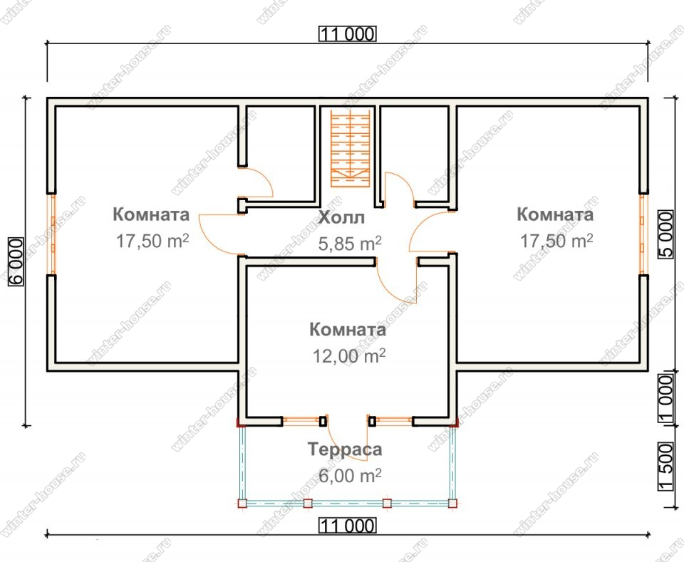 План дома для постоянного проживания 8,5х11 с мансардой