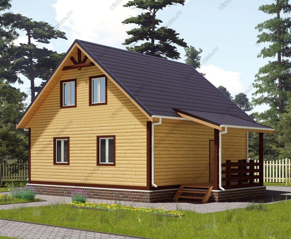 Проект дома для постоянного проживания 8 на 10 с мансардой и террасой