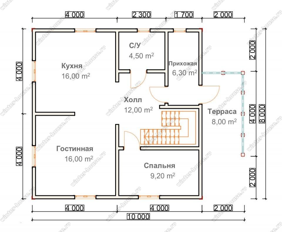 Планировка дома для постоянного проживания 8 на 10 с мансардой и террасой