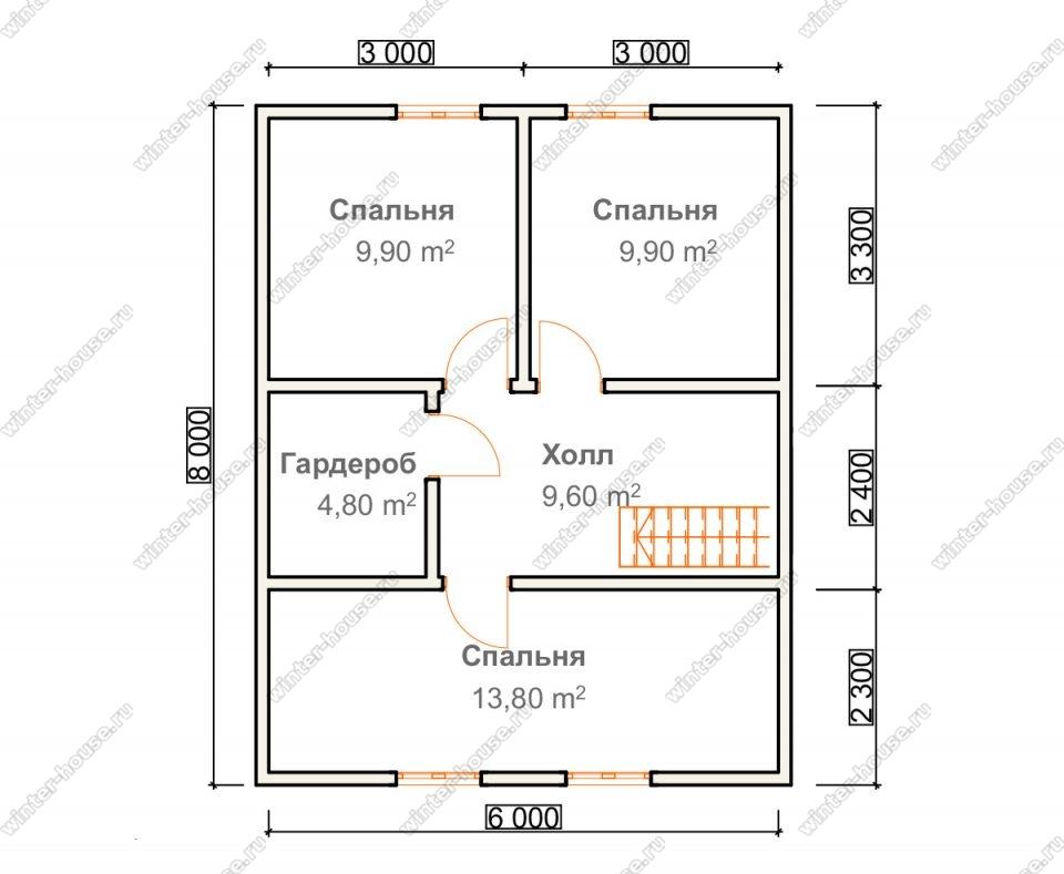 План дома для постоянного проживания 8х10 с мансардой и террасой