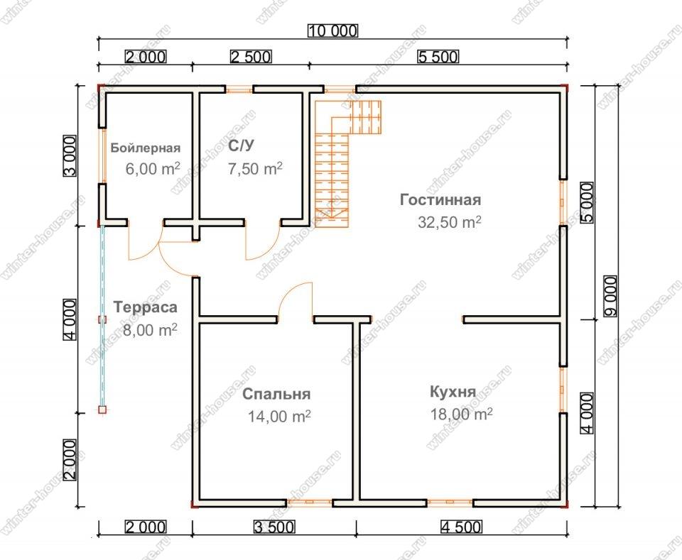 Планировка двухэтажного дома для постоянного проживания 9 на 10 с террасой