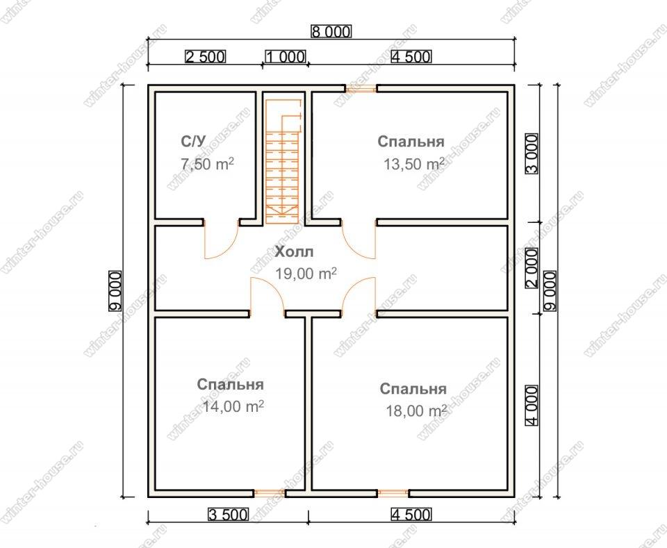 План двухэтажного дома для постоянного проживания 9х10 с террасой