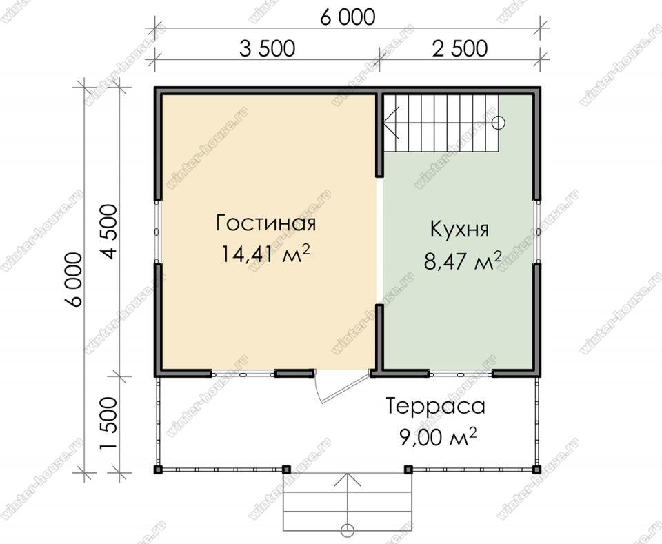Планировка дачного дома 6 на 6 с мансардой и террасой