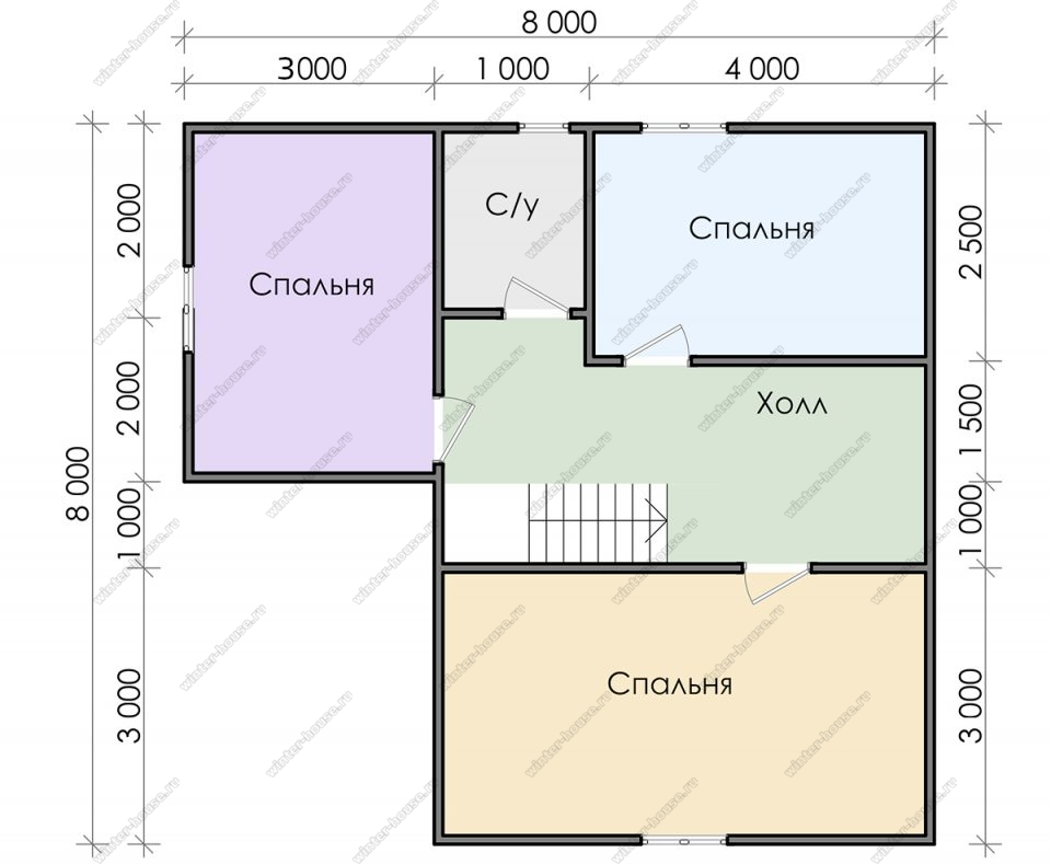 План двухэтажного дома для постоянного проживания 8х8 с террасой