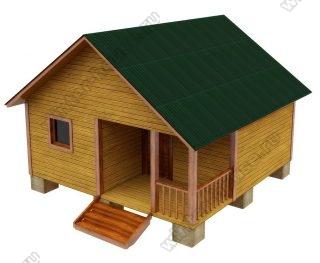 Одноэтажная баня из бруса 6х6 с террасой