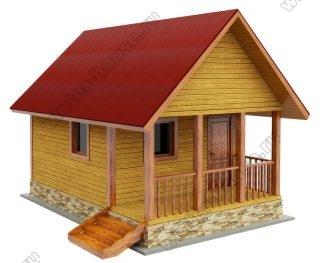 Деревянная баня из бруса 6 на 4 с террасой