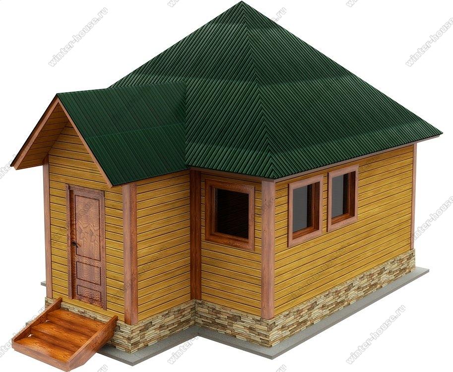 Баня из бруса 5 на 5 с четырехскатной крышей