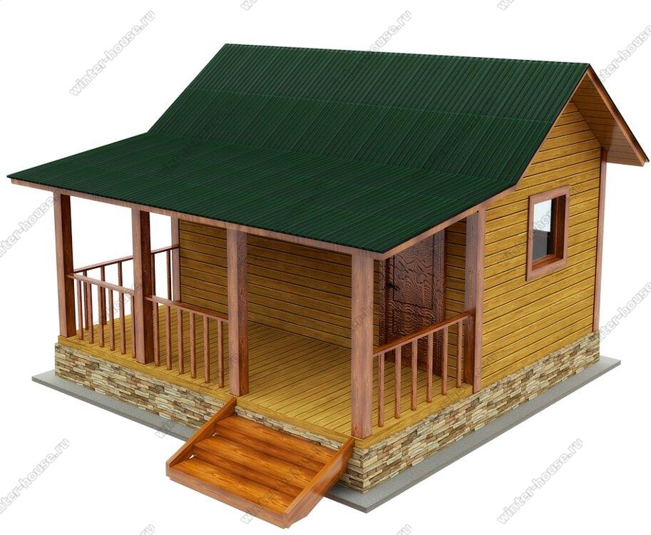 Одноэтажная баня из бруса 6 на 5 с террасой