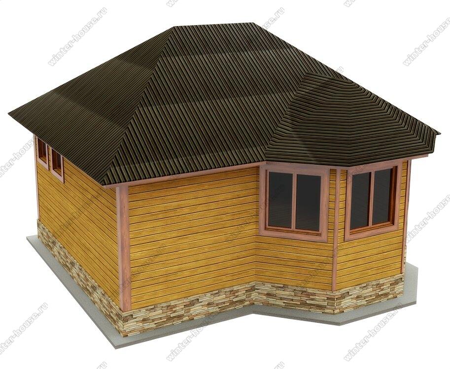 Недорогая баня 6х5 из бруса с вальмовой крышей