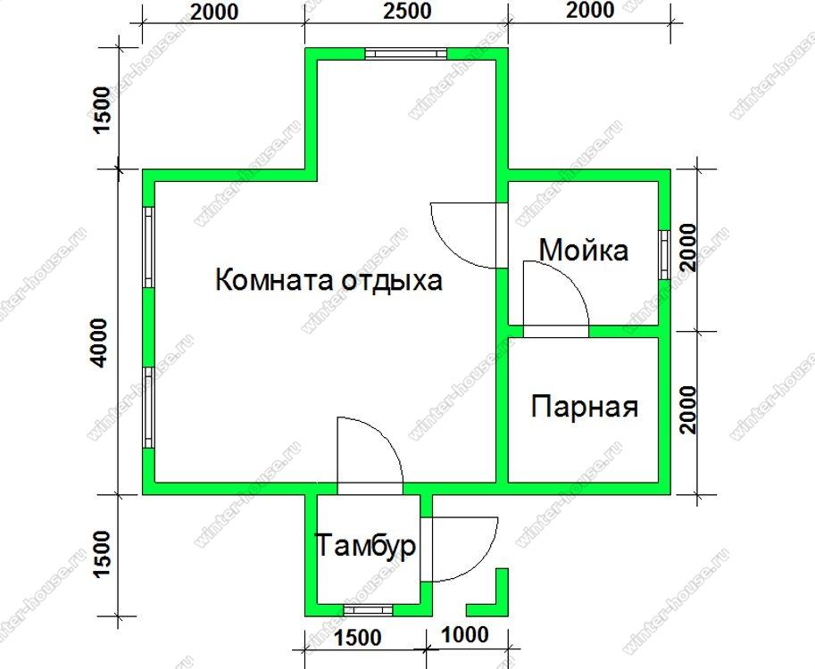 Баня 7,5 на 6 из бруса с крыльцом в один этаж