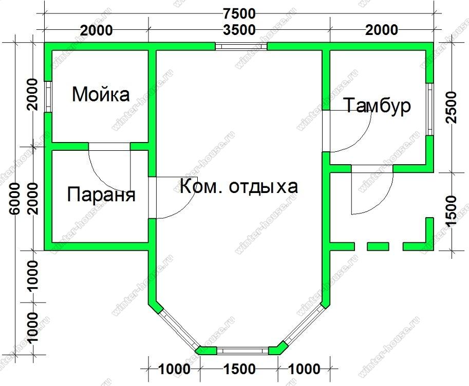 Недорогая брусовая баня 7,5х6 с эркером и крыльцом