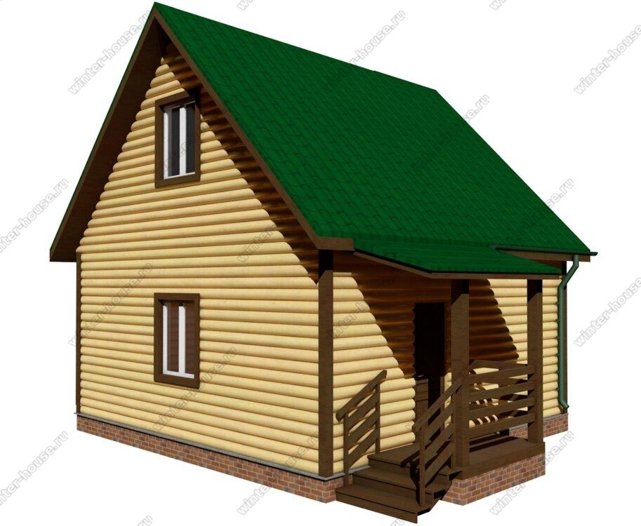 Деревянная баня 6на6 с крыльцом и мансардным этажом