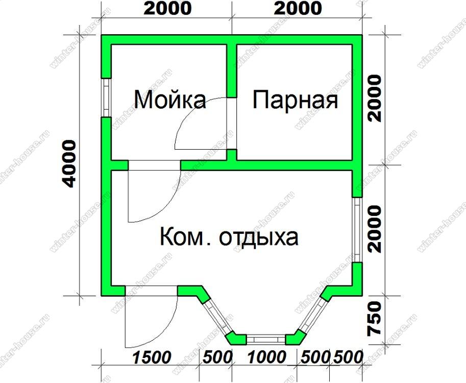 Брусовая баня 4 на 4 в один этаж с эркером