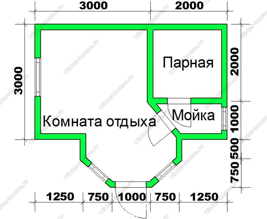 Одноэтажная баня 5 на 3 из бруса с эркером