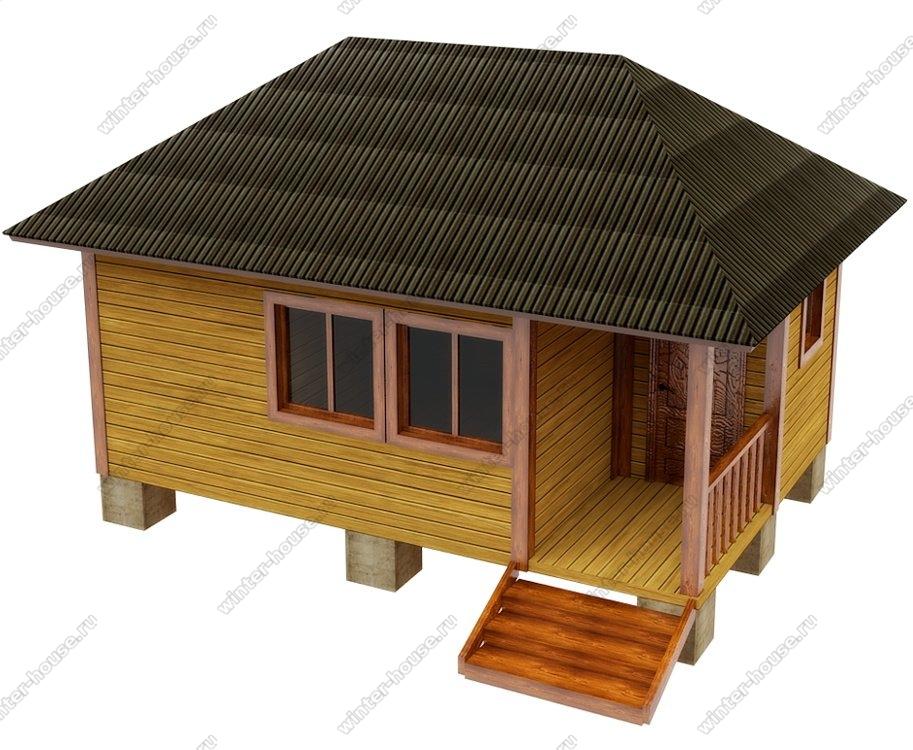Баня из бруса 6 на 4 с вальмовой крышей с террасой
