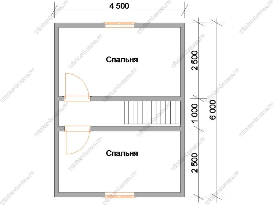 Планировка дома 6 на 8 из профилированного бруса