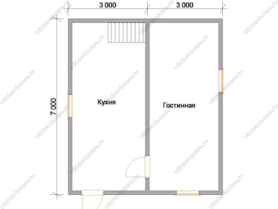 Планировка зимнего дома 6 на 7