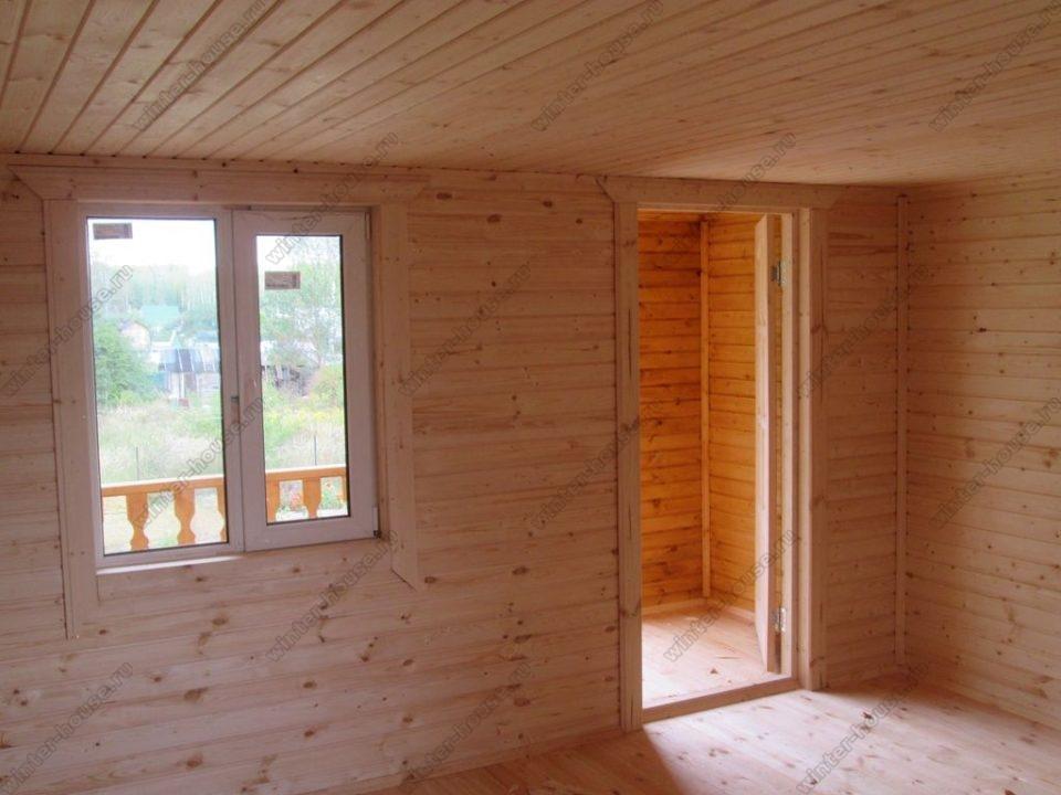 Дом из бруса 6 на 6 с ломаной крышей фото1