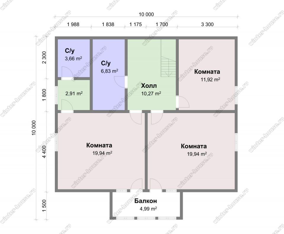 Проект дома 10х10 с отличной планировкой 2 этажа