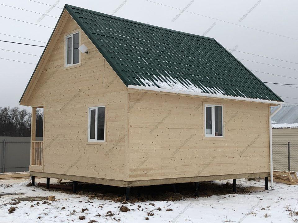 Каркасный дом 7 на 7 с эркером мансардой и террасой