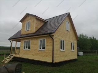 Фото каркасного дома 6х9 с террасой и мансардой
