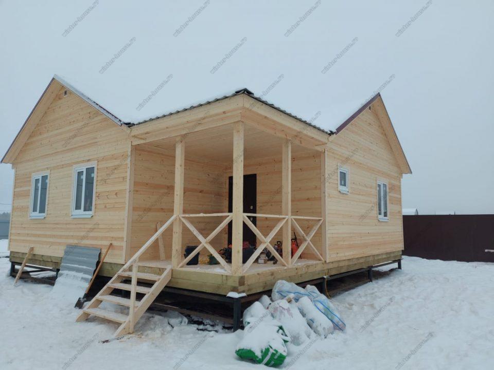 Одноэтажный каркасный дом 9х9 под ключ с террасой, проект, цена фото 8