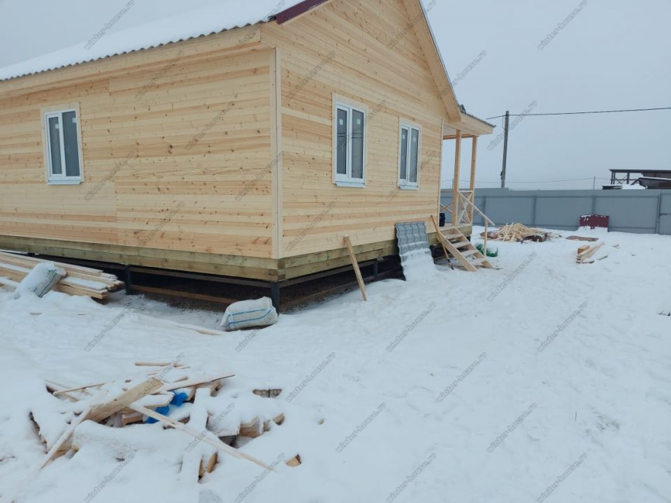 Одноэтажный каркасный дом 9х9 под ключ с террасой, проект, цена фото 7