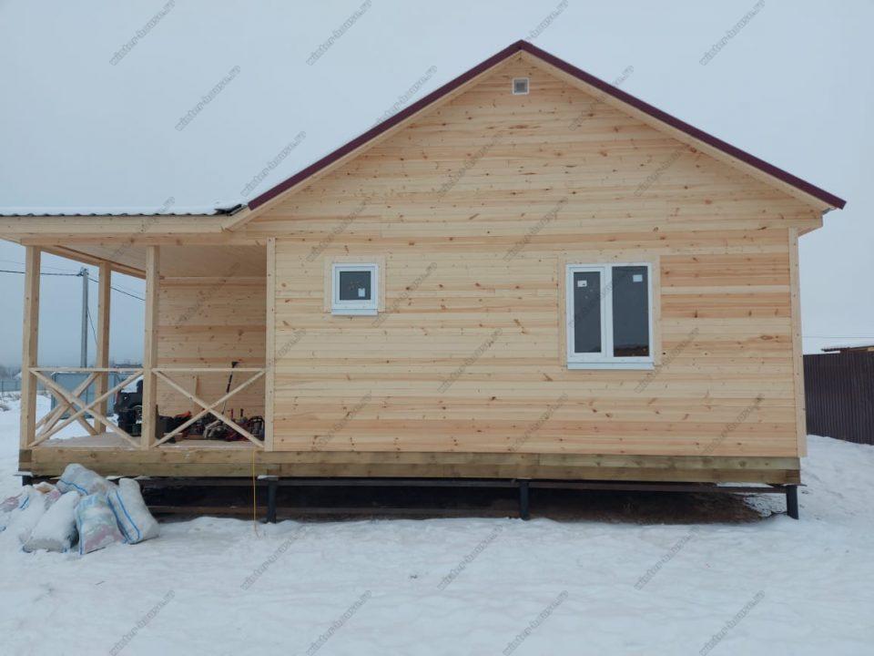 Одноэтажный каркасный дом 9х9 под ключ с террасой, проект, цена фото 5