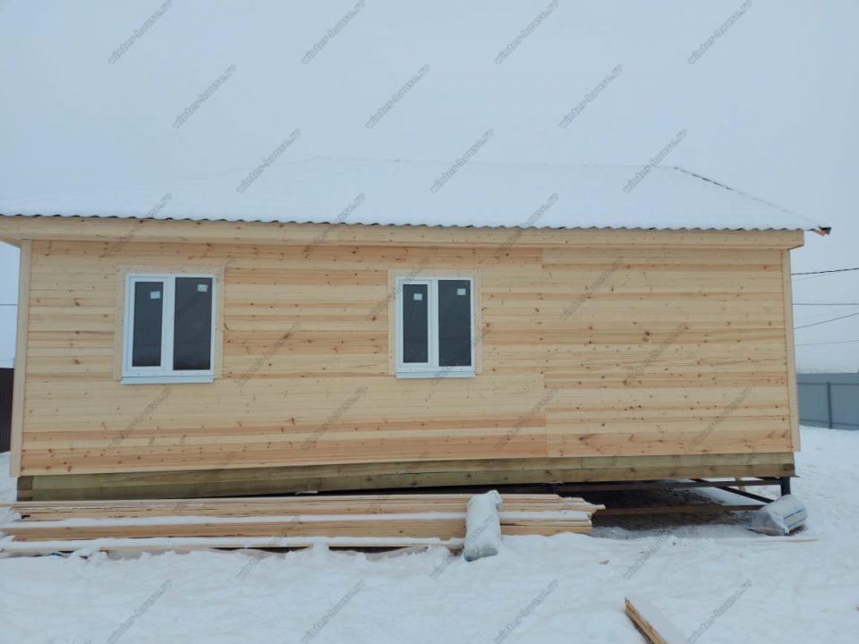 Одноэтажный каркасный дом 9х9 под ключ с террасой, проект, цена фото 4