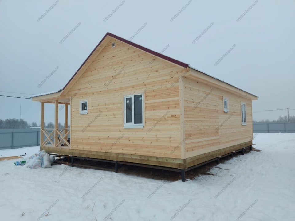 Одноэтажный каркасный дом 9х9 под ключ с террасой, проект, цена фото 3