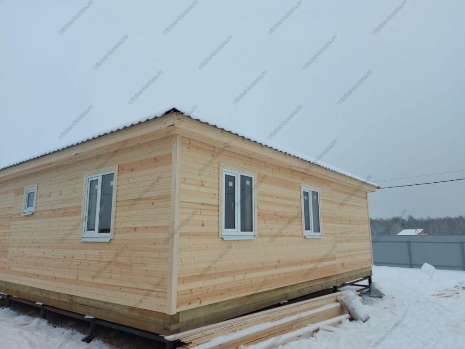 Одноэтажный каркасный дом 9х9 под ключ с террасой, проект, цена фото 2
